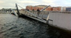 High tide is seen at the Sean O'Casey Bridge in Dublin. Photograph: Hugh Linehan