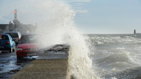 High tide at Clontarf, Dublin. Photographer: Dara Mac Donaill/Irish Times