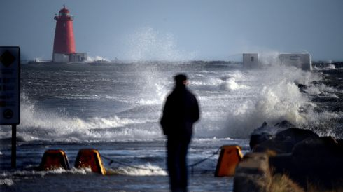 The scene at high tide on the South Wall. Photograph: Cyril Byrne/Irish Times