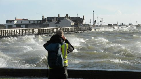 High tide at Clontarf, Dublin. Photographer: Dara Mac Donaill/Irish Times            Dara Mac Donaill  Dara MacDonaill