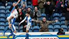 Blackburn Rovers's Grant Hanley (left) jumps on goalscorer Scott Dann's back after the defender's equaliser against Manchester City in their FA Cup third round tie at Ewood Park. Photograph: Phil Noble/Reuters