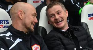 New Cardiff City manager Ole Gunnar Solskjaer (right) smiles during his side's 2-1 FA Cup third round win over Newcastle United  at St James's Park. Photograph: Owen Humphreys/PA Wire