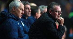 Aston Villa manager Paul Lambert during his side's 2-1 FA Cup defeat to Sheffield United. Photograph:   David Davies/PA Wire