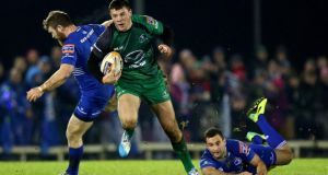 Connacht's Robbie Henshaw gets past Gordon D'Arcy and Dave Kearney (right) of Leinster at the Sportsground. Photograph: James Crombie/Inpho