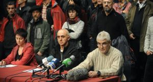 José Antonio López Ruiz (right), Estanis Etxaburu and Inés Lopez give a press conference in the name of 63 recently released ETA prisoners, in Durango, Spain. Photograph: Getty Images