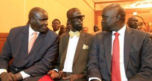 Grang Demebiar (centre), son of late Sudanese politician John Garang, at the opening of South Sudan's negotiations in Ethiopia's Addis Ababa on Saturday. Photograph: Tiksa Negeri/Reuters