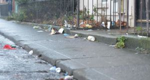 Litter on Emmet Street in Dublin's north inner city. Dublin city centre got a clean rating for the first time in 18 years of monitoring but the area to the northeast of the city centre was found to be exceptionally dirty. Photograph: Alan Betson.