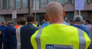 ESB workers hold a meeting to voice concerns about their pensions. Photograph: The Irish Times