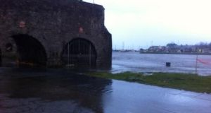 Flooding at the Spanish Arch where the river Corrib  burst its banks this morning. Photograph: Lyndsay Hughes/@LynScribbles