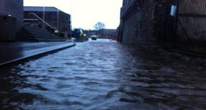 Flooding outside Galway City Museum this morning. Photograph: Lyndsay Hughes/@LynScribbles
