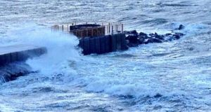 Heavy weather at Salthill today. Photograph: Paul O'Brien/Western House/@paulgaillimh
