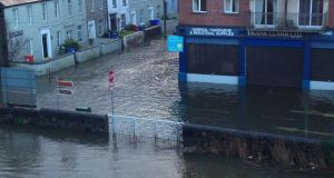 Flooding at Wandsford Quay in Cork this morning. Photograph: Darren Hayes/@theamazinghayes