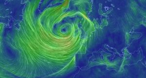 A screengrab of an interactive map of winds in the North Atlantic available at eath.nullschool.net