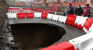 A massive hole appeared on Strand Road, Tramore, Co Waterford today.  Photograph: Tina Schley