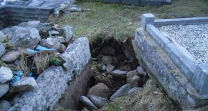 Damage to a graveyard at Carraroe in Co Galway. Photograph: Mark Lydon