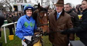Trainer Willie Mullins (right) expects improvment from Hurricane Fly. Photographer: Dara Mac Dónaill / The Irish Times