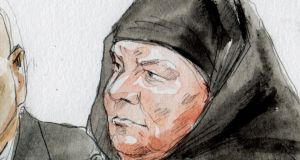 Colleen LaRose is shown in this courtroom sketch during her sentencing hearing in Philadelphia, Pennsylvania today. Photograph: Reuters