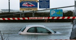 The flooded car park at Toft Park, near Dr Colohan Road, in Salthill. Photograph: Joe O'Shaughnessy.