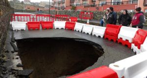 A massive hole which appeared on the Strand Road, Tramore, Co Waterford. Photograph: Tina Schley
