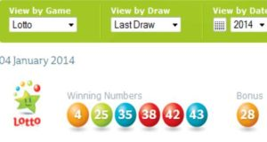 Winning numbers from Saturday's Lotto draw.