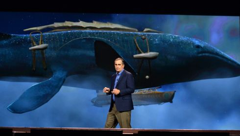 "Intel chief executive Brian Krzanich delivers a keynote address in front of an image of the whale airship from the book ""Leviathan"" by Scott Westerfeld at the 2014 International CES in Las Vegas.  Photo: Ethan Miller/Getty Images"