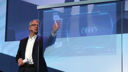Rupert Stadler, chairman of the board of management of Audi, delivers a keynote address at the 2014 International CES in Las Vegas.  Photo: Justin Sullivan/Getty Images