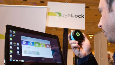 Tony Antolino, chief marketing officer for EyeLock, demonstrates the Myris, a USB-powered iris scan. The software converts iris characteristics to a unique code that can be used to unlock your computer. Photo: Steve Marcus/Reuters