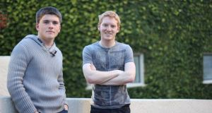 John and Patrick Collison, co-founders of Stripe, outside their offices in Palo Alto, California.