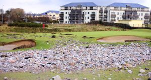 Galway Gof Club after the recent Atlantic  Storm, where an estimated 212 tonnes of stones and sand was dumped onto the course.