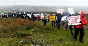 People taking part in the Solidarity Walk-Rebelling Against Pylons and Wind Turbines, at Vinegar Hill, Enniscorthy, on Sunday.  Photograph: Eric Luke