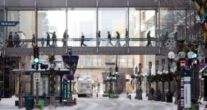 People use skyways to avoid going outside as temperatures  in Minneapolis dropped to -25 degrees Celsius. Photograph: EPA/Craig Lassig.