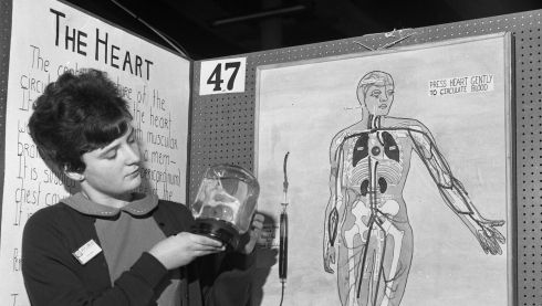 Christine Leahy, Convent of the Sacred Heart, Leeson Street, Dublin, whose Young Scientist project was to show the circulation of the blood, back in 1966.  Photograph: Eddie Kelly/The Irish Times