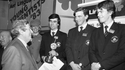 Then taoiseach Garret FitzGerald with Turan Mirza, William Murphy and Gareth Clarke of Carrickfergus Grammar School, Co Antrim, after their win in the 1983 Young Scientist competition. Photograph: Paddy Whelan/The Irish Times