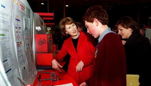 Then president Mary McAleese with Robert Staunton, Salesian College, Kildare, at the Esat Telecom Young Scientist & Technology Exhibition in 2000. Photograph: Eric Luke/The Irish Times