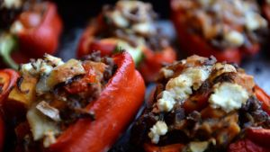 Stuffed red peppers. Photograph: Cyril Byrne