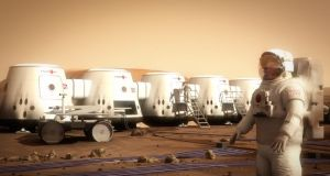 Digital mock-up of a Martian colony supplied by Mars One