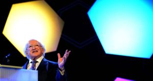 President Michael D Higgins opening the BT Young Scientist & Technology exhibition, at the RDS today. Photograph: Eric Luke/The Irish Times
