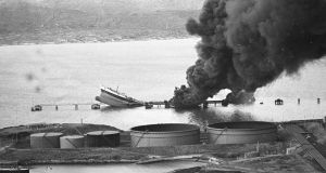 The hulk of the Betelgeuse tanker lies at the oil Jetty at Whiddy Island following the disaster. Photograph: Pat Langan