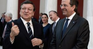 Greek Prime Minister Antonis Samaras (right) and  European Commission president Jose Manuel Barroso during the handover ceremony for the six-month rotation of Greece's EU Presidenc in Athens.