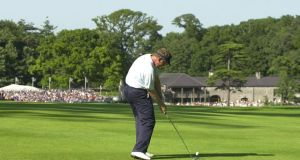 Colin Montgomerie on his way to victory in the 2001 Irish Open at Fota Island.