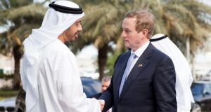Taoiseach Enda Kenny with Sheikh Abdullah bin Zayed al Nahyan, the UAE foreign minister. The Irish delegation has made no excuses about the fact that this trip is about trade, investment and creating jobs back home. Photograph:  Maria Sundinemail