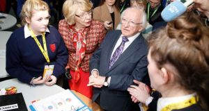 President Michael D Higgins and wife Sabina at the exhibition. Photograph: Sasko Lazarov/Photocall Ireland