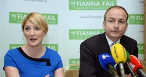 Fianna Fail leader Micheá Martin and Senator Averil Power at the Fianna Fáil press conference on the Seanad Reform Bill 2014  in Dublin today. Photograph: Eric Luke/The Irish Times