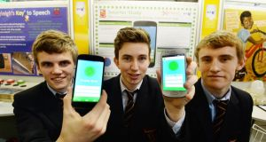Michael Fitzgibbon, Emmett Ryan and Killian Ryan from Ardscoil Ris, Limerick, with their project Smarter study. Photograph: Alan Betson / The Irish Times