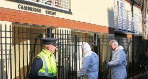 The scene at Cambridge Court, Irishtown, where Thomas Horan (63), from Mullingar, Co Westmeath, but a long-term resident of Dublin, was found dead in his flat, where he lived alone in the early hours of Monday. Photograph: Colin Keegan/Collins