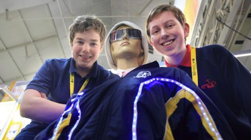 Jacob Ziewer (15, left) and Luke Maguire (14), both Sutton Park School, with their exhibit, A Road Safety System for the Visually Impaired, readying for the 50th BT Young Scientist & Technology Exhibition at the RDS.Photograph: Gareth Chaney/Collins