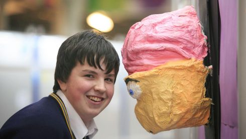 Conor Walsh (16), St Fintan's High School, Dublin, with his project to investigate whether there is a link between brand loyalty and age.  Photograph: Gareth Chaney/Collins