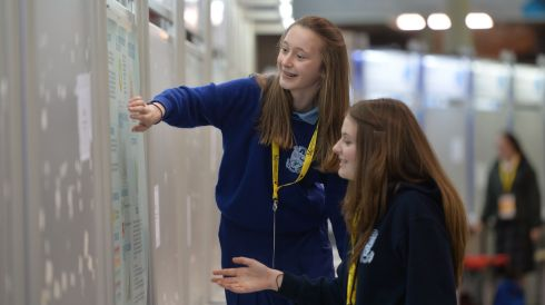 Emma Collins and Maeve Walsh, Malahide Community School, assembling their exhibit on Effects of Social Media on Teenagers at the BT Young Scientist & Technology Exhibition.  Photograph: Alan Betson/The Irish Times
