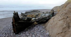 The wreck of The Sunbeam at Rossbeigh Strand in Co. Kerry which had been embedded in the sand for 111 years but this week's storm propelled the 84-tonne wreck  about half a kilometre away. Photograph: Don MacMonagle