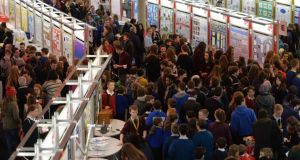 A packed hall at the 50th BT Young Scientist & Technology Exhibition at the RDS.Photograph: Alan Betson / The Irish Times